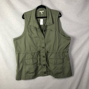Maurices Green Lace Up Back Vest